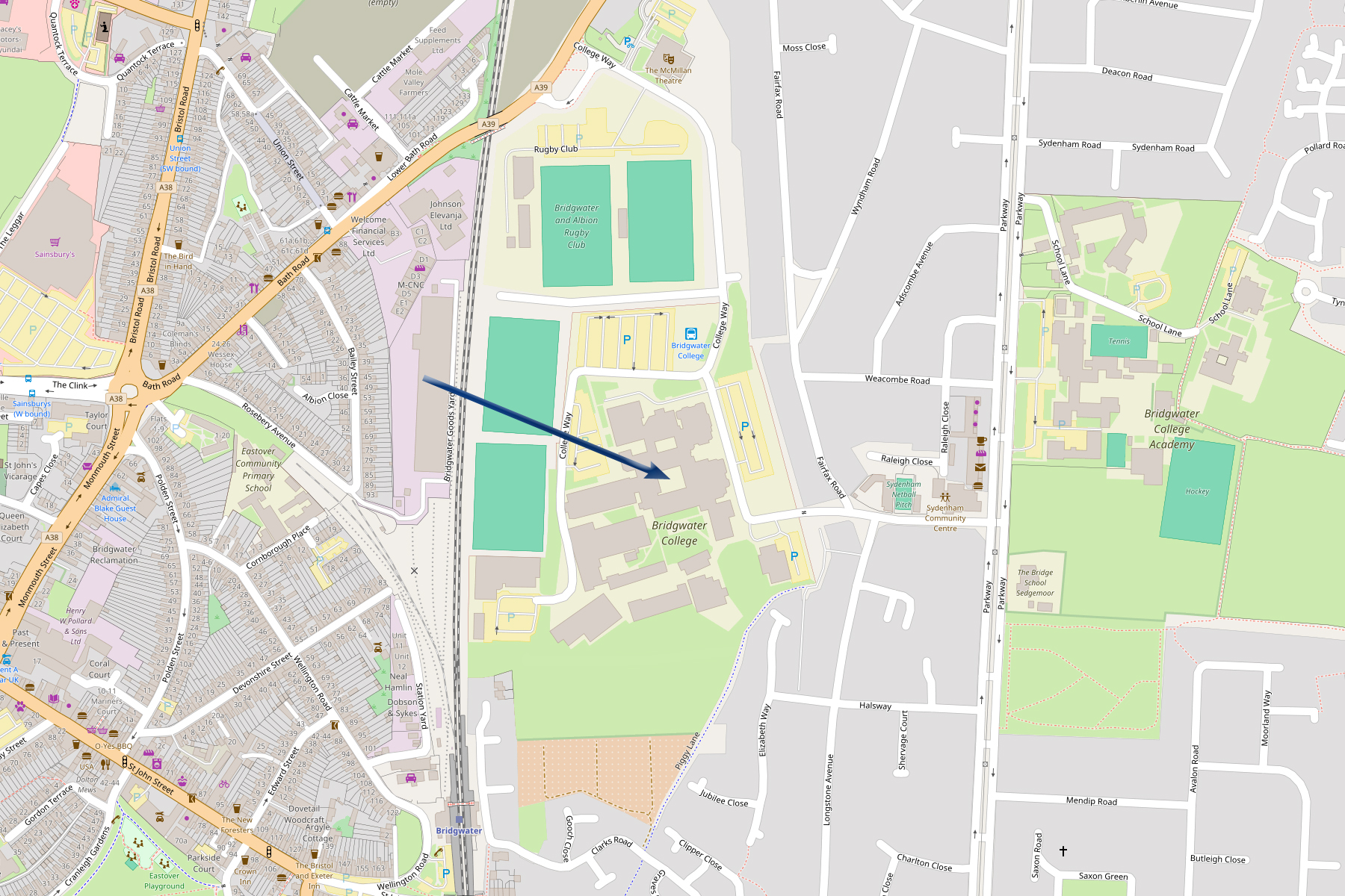 Map to Bridgwater College